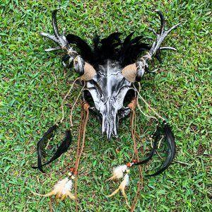 Silver Deer Horn Animal Skull Masquerade